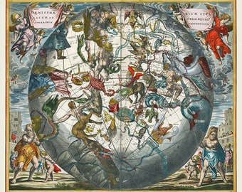 Southern Hemisphere, Celestial Map, Southern Hemisphere Map, Hemisphere Map, Southern Celestial Hemisphere, Andreas Cellarius, Constellation