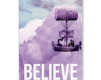 Watercolor, Greeting Cards, Steampunk, She Believed She Could, Encouragement, Encouragement Card, Sympathy Card, Airship, Encourage Someone