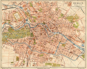 Berlin Map, Map Poster, Vintage Maps, Old Maps and Prints, Map Decor, Cartography, Old Map Art, City Map, Historic Map, Berlin Poster, Maps