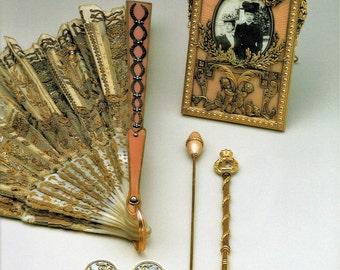 Russian, Faberge, Festooned Fan, Fine Art Print, Amatory Frame, Crochet Hook, Hat Pin, Buttons, House of Faberge, Giclee Print, Russian Art