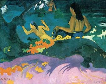 By The Sea, Abstract Art, Paul Gauguin Art, Fatata te miti, Wall Decor, Giclee Print, Naked Women, Colorful Art, Sea Art Print, Tropical Art