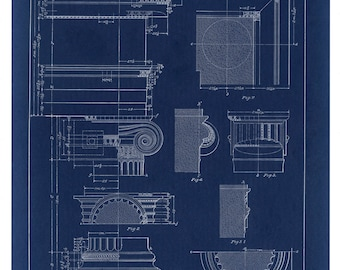Blueprint Wall Decor, Greek Ionic Column Drawing, Architecture Poster, Architectural Print, Column, Blueprint Drawing, Blueprint Art, Print