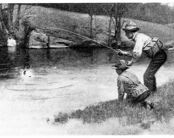 Norman Rockwell Print, Along the Trout Stream, Vintage, Art Print, Fishing Art, Fisherman, Vintage Book Print, Fishing Decor, Fishing Gifts
