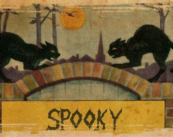 Spooky Black, Spooky Halloween, Halloween Spooky, Black Halloween, Black Spooky, Halloween Black, Vintage Halloween, Halloween Vintage, Art