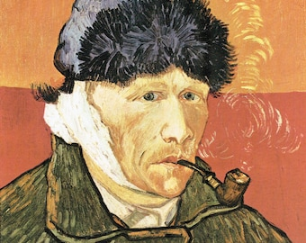 VanGogh Ear, Vincent VanGogh, VanGogh Vincent, Bandaged Ear, Vincent Ear, Pipe & Bandaged Ear, VanGogh Art, Dutch Artists, Self Multilation