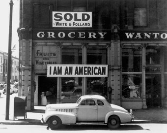 I Am An American, Dorothea Lange, Oakland CA, March 2942 Japanese Internment Photo Giclee Reproduction