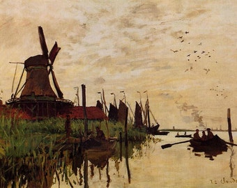 Monet Zaandam, Windmill At Zaandam Monet, Zaandam Monet, Windmill Monet, Monet Windmill, Claude Monet, Monet Art Print, Windmill Art Print