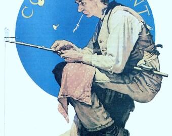 Fishing, Fisherman, Art Print, Normal Rockwell, Man Fishing 1926, Giclee Print, Fishing Gifts for Men, Americana, Fishing Decor, Giclee Art