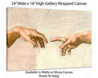 Michaelangelo Hands, The Creation of Adam, Ready To Hang, Gallery Wrapped, Canvas Print, Michaelangelo Print, Sistine Chapel, Religious Art
