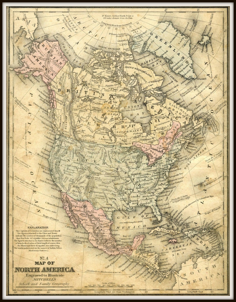 Old Map North America Usa Map Poster Map Art Vintage Map Etsy - Old-map-of-us