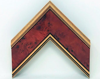 """Burled Mahogany, 3 1/8"""" Wide, Wood Picture Frame, Gold Accents, Picture Frame Only, Complete Framing Package, Frame, Mat, Acrylic UV Glazing"""