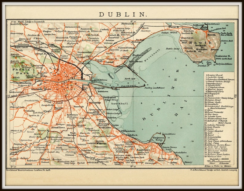 Map Of Ireland 32.Dublin Map Ireland Map Dublin Ireland Map Dublin Map Etsy
