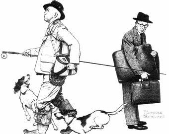Norman Rockwell Retirement 1963 Print, Vintage Fisherman Print, Rockwell Fishing Prints, Man Going Fishing, Vintage Rockwell Prints