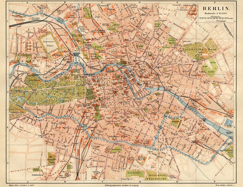 Berlin Map Map Poster Vintage Maps Old Maps and Prints Map | Etsy