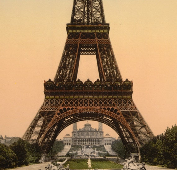 EIFFEL TOWER UNDER CONSTRUCTION PARIS FRANCE REAL CANVAS GICLEE 8X10 ART PRINT