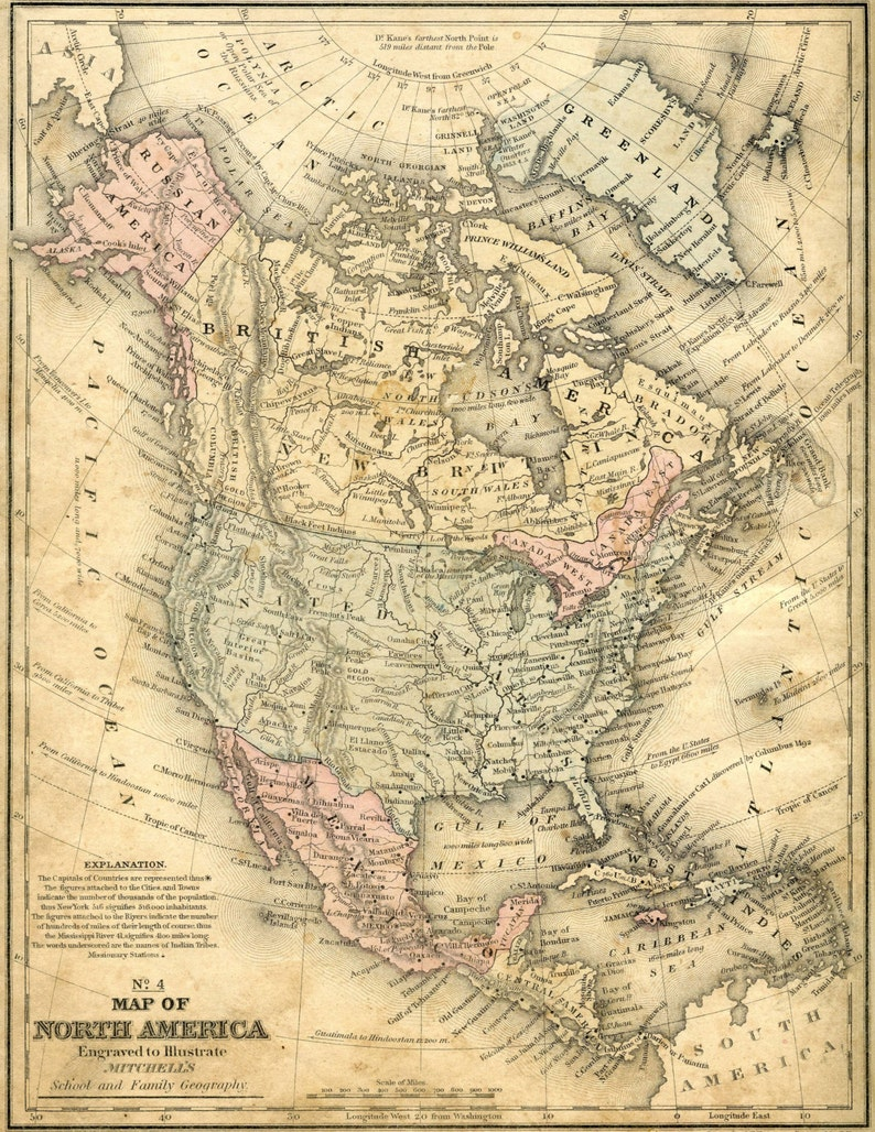 Old Map North America Usa Map Poster Map Art Vintage Map Etsy - Us-map-poster