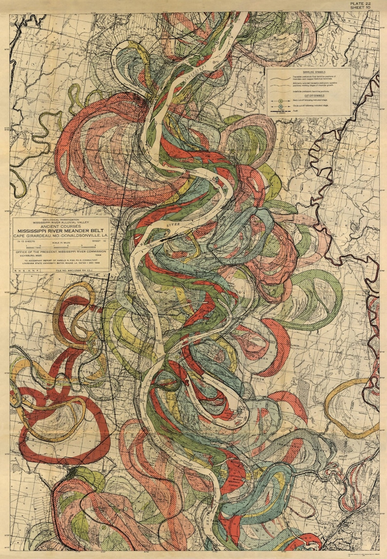 Mississippi River Map Louisiana River Harold Fisk Map Page Etsy