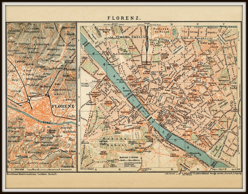 Florence Map Italy Map Poster Vintage Maps Florence Etsy