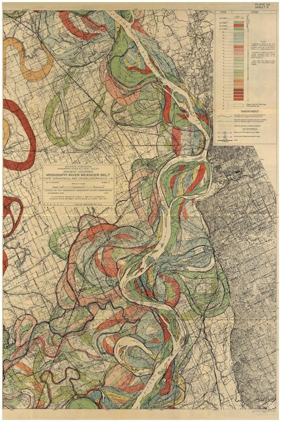 Mississippi River, Memphis Tennessee, Harold Fisk Maps, P22 Sheet 5,  Mississippi River Meander Belt, Memphis Tennessee Map, Memphis Map, Art