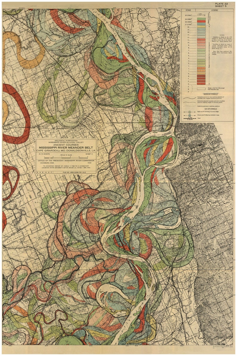 Mississippi River Memphis Tennessee Harold Fisk Maps P22 | Etsy