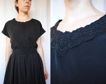 43d03b84166 Vintage black blouse with floral lace neckline -- cap sleeve shirt