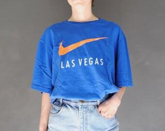 0e0978a235b4c 90s neon Nike t-shirt -- vintage oversized t-shirt, faded t-shirt, logo t- shirt, Nike swoosh, Las Vegas, 1990s 90s, unisex