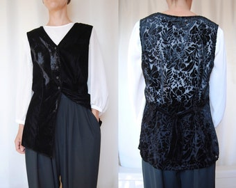 eb915ac6a5aa6 90s crushed velvet vest, vintage burnout velvet vest -- oversized vest,  floral, bohemian, sleeveless, black velvet, 1990s 90s clothing