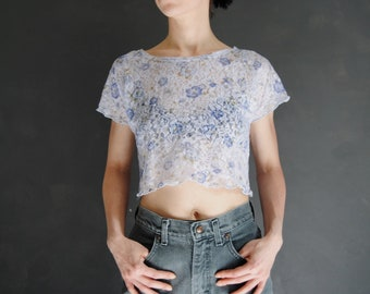d52b67b822f637 90s floral lace crop top -- vintage cropped t-shirt, see through, light  blue, powder blue, small flowers, grunge, 1990s 90s clothing, medium