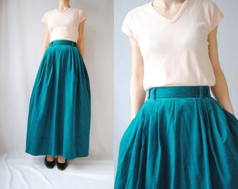 b38b119ce8 80s sea green corduroy maxi skirt, vintage full skirt with pockets -- long  skirt, teal emerald, high waisted, 1990s 90s 1980s 80s, medium