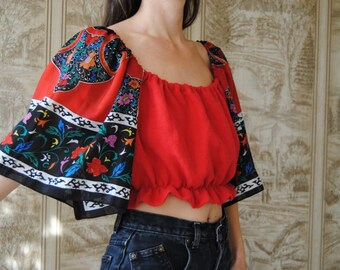 off shoulder top puff sleeve top reworked vintage top Red linen crop top with paisley fringe sleeves med scarf top patchwork top
