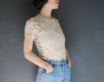 1cf4d3070f4 90s lace top with faux bustier