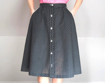 9a48320788 1970s polka dot skirt, cotton midi skirt with pockets -- small polka dots,  button up, pinup, rockabilly, black and white, 1970s 70s, xs sm