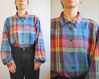 ab4d36b006 80s rainbow plaid shirt, vintage oversized flannel shirt -- colorful plaid,  grunge shirt, bishop sleeves, 1980s 80s 1990s 90s, small medium