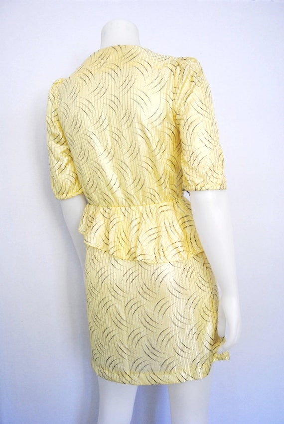 80s yellow secretary dress, vintage peplum dress … - image 9