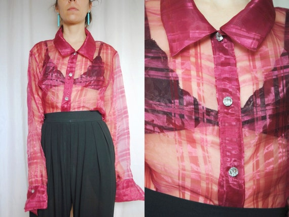 80s raspberry red sheer blouse with crystal button