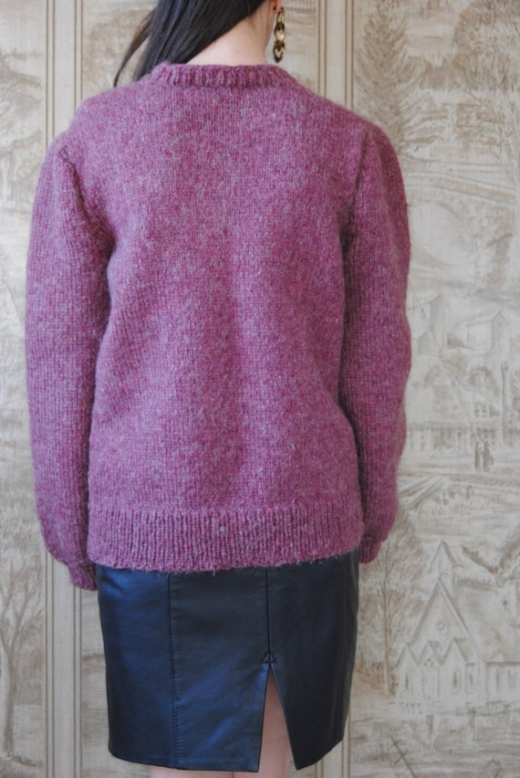 80s hand knit wool sweater with grapes and puffed… - image 8