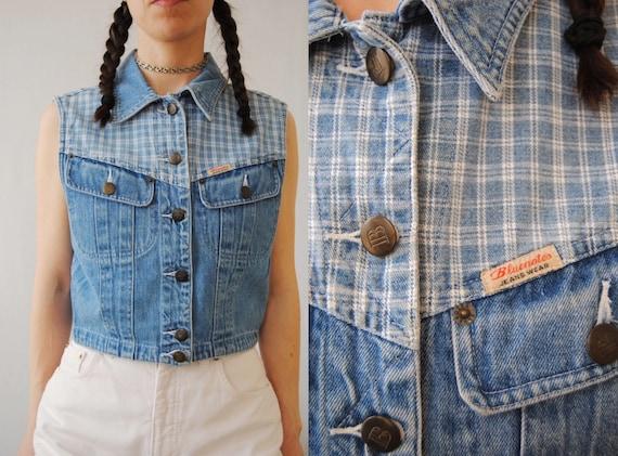 90s cropped denim vest with plaid yoke, vintage je