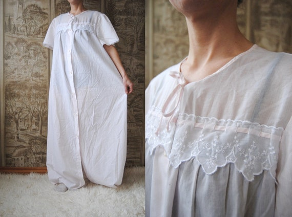 70s cotton nightie with eyelet lace trim, vintage