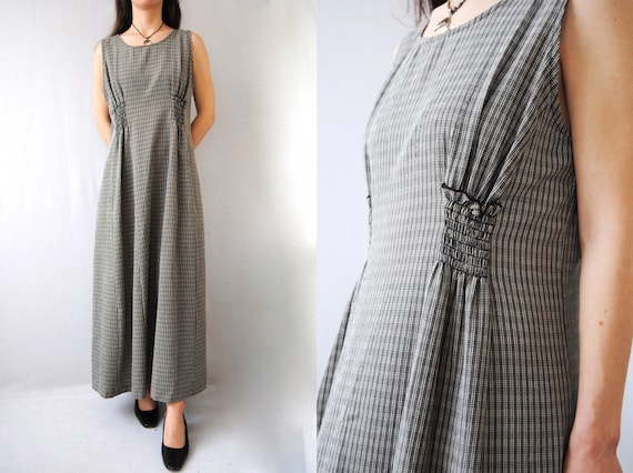 90s plaid maxi dress with smocked pockets, vintage