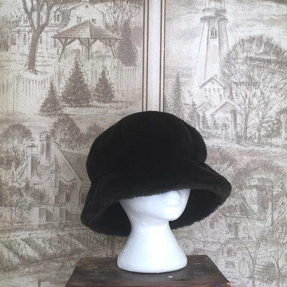 90s faux fur bucket hat, vintage oversized bucket