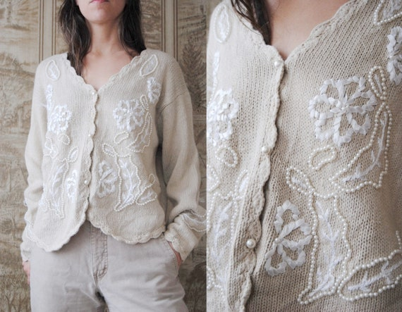 80s pearl beaded cardigan with ribbon flowers and
