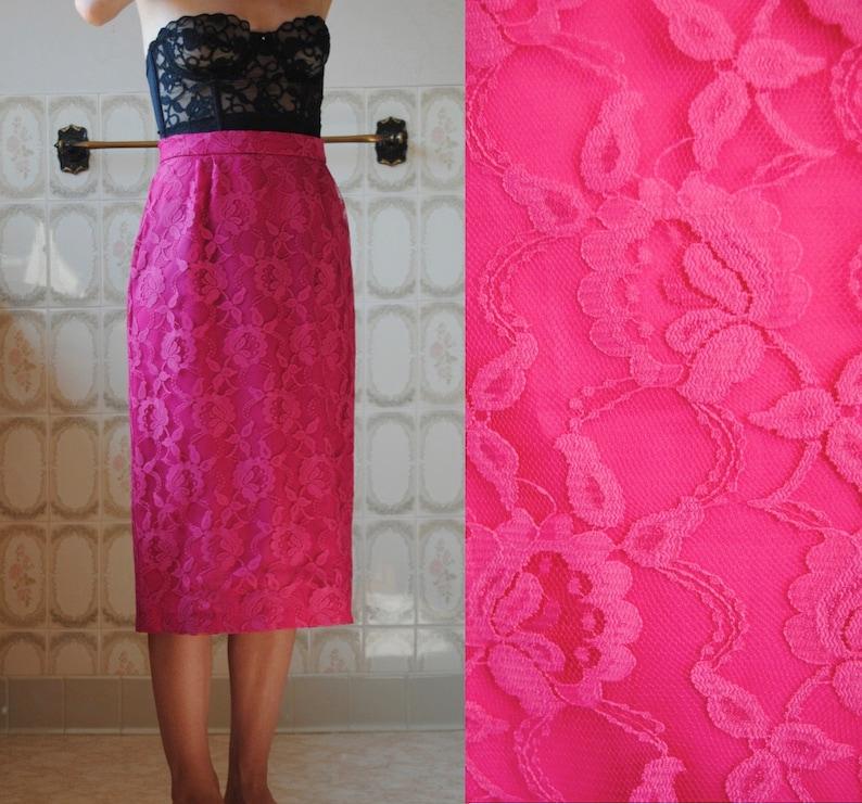 66003ada7e 80s lace pencil skirt vintage midi skirt high waist | Etsy