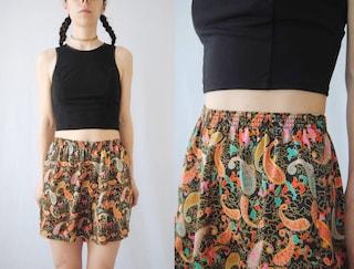 80s paisley satin sleep shorts - floral, patterned, flirty, loose, high waist, vintage lingerie, 1980s 80s