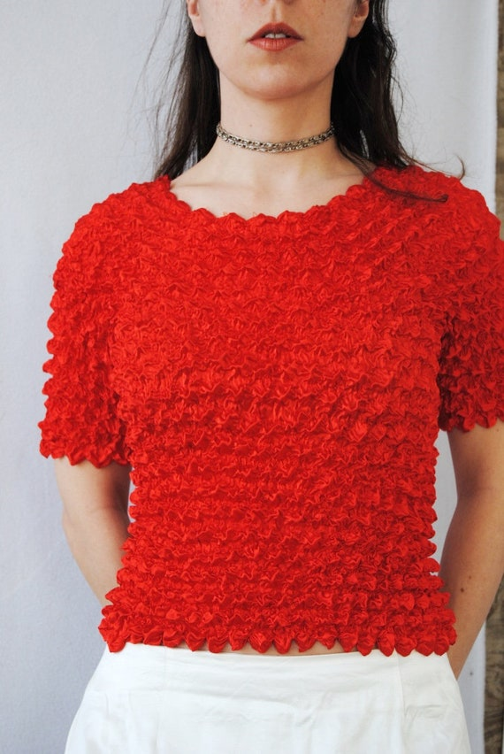 90s crinkle top in cherry red, vintage micropleat… - image 8