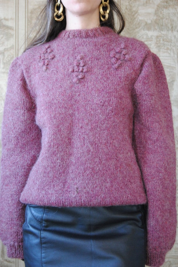 80s hand knit wool sweater with grapes and puffed… - image 3