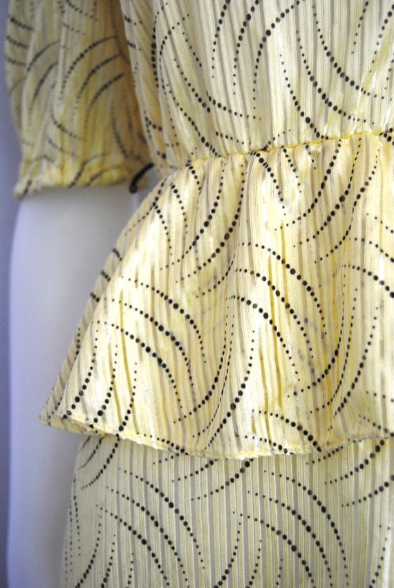 80s yellow secretary dress, vintage peplum dress … - image 10