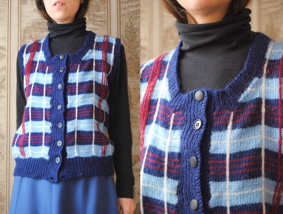 70s plaid wool sweater vest with red and blue tart