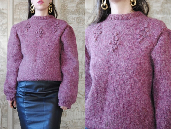 80s hand knit wool sweater with grapes and puffed… - image 1