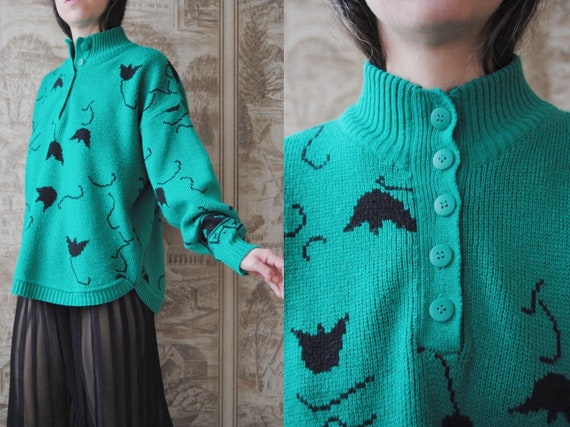 80s green floral sweater with quarter button neckl