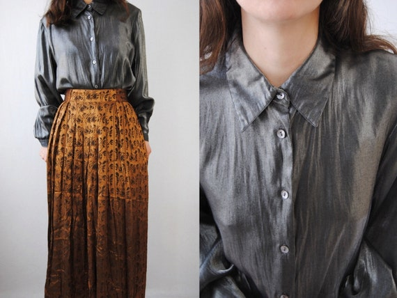 90s liquid silver blouse with bishop sleeves -- vi